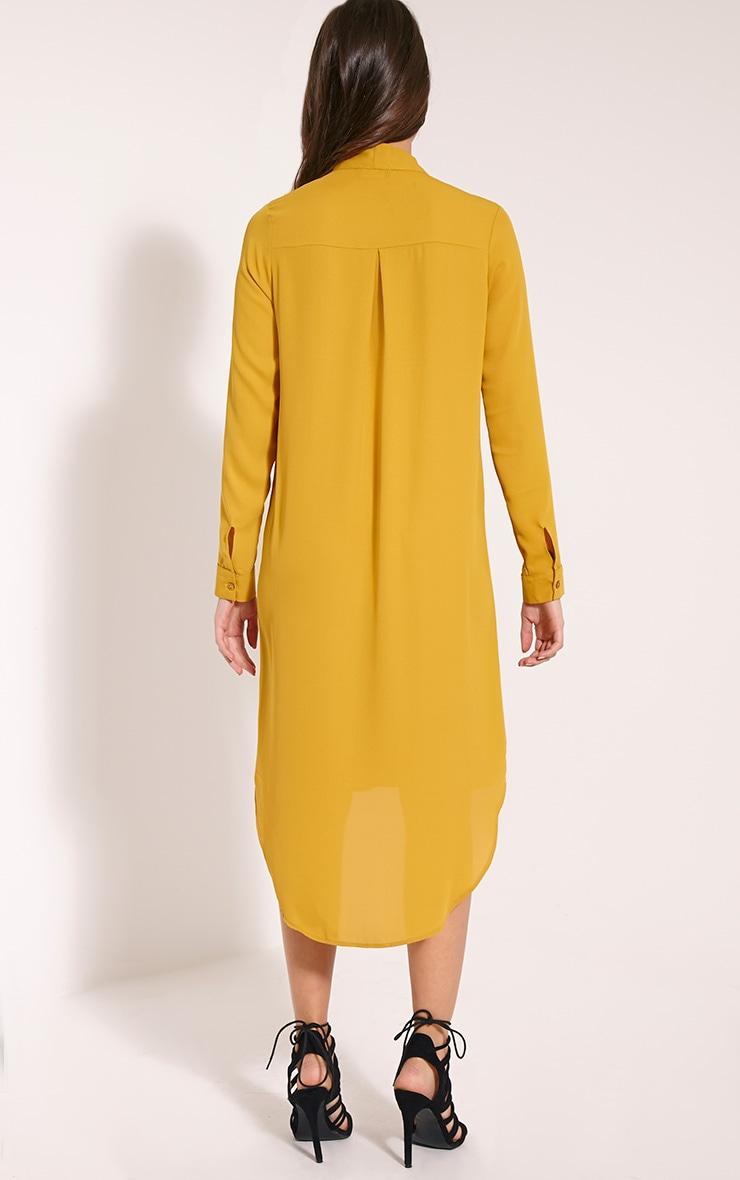 Mila Mustard Pussy Bow Long Shirt Dress 2