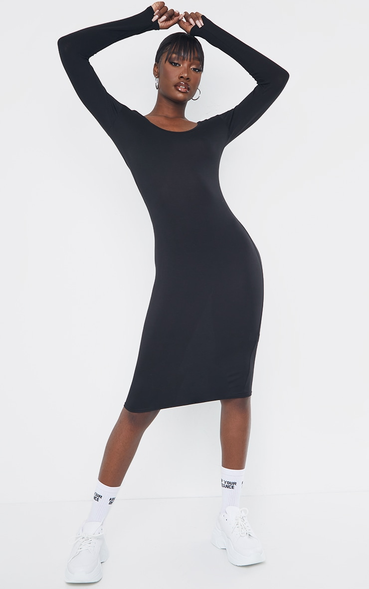 Tall Black Long Sleeve Midi Dress 1