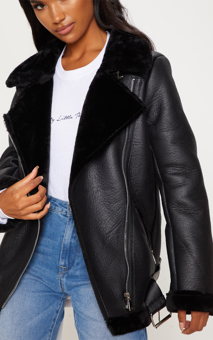 Black Oversized Pu Aviator