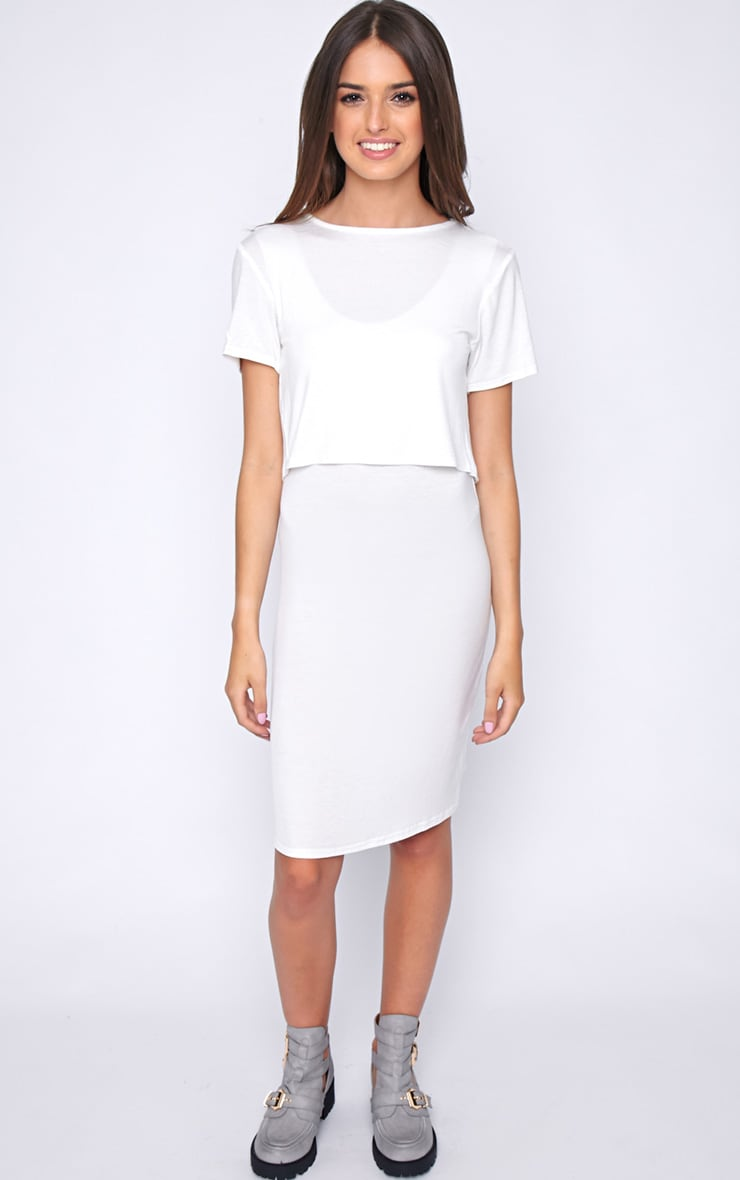 Fran White Layered Tshirt Dress with Open Back  3