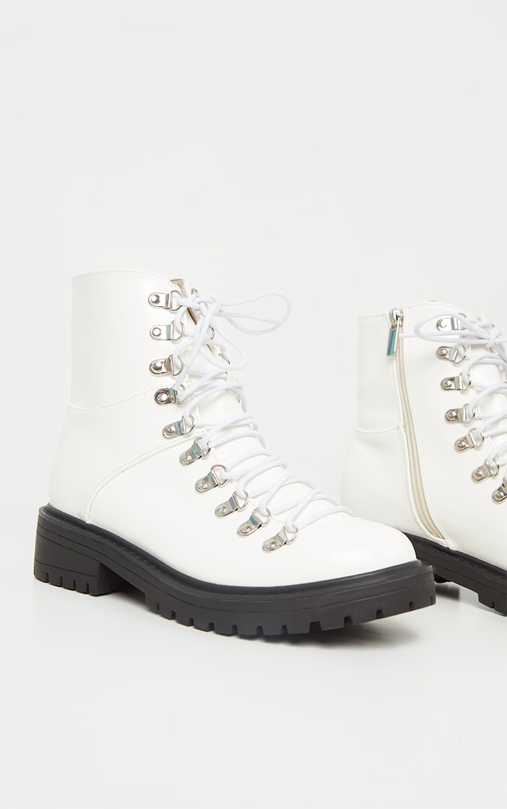 White Cleated Sole Hiker Eyelet Ankle Boot 3