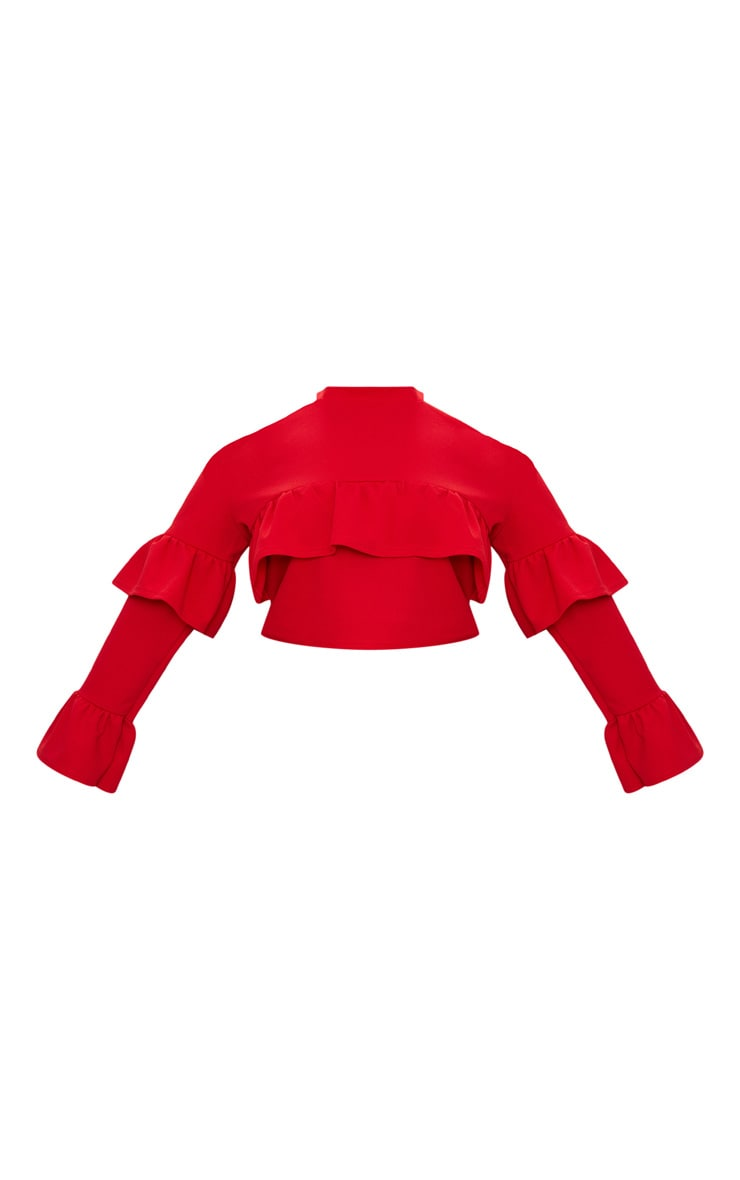 Plus Red Cold Shoulder Ruffle Detail Crop Top 3