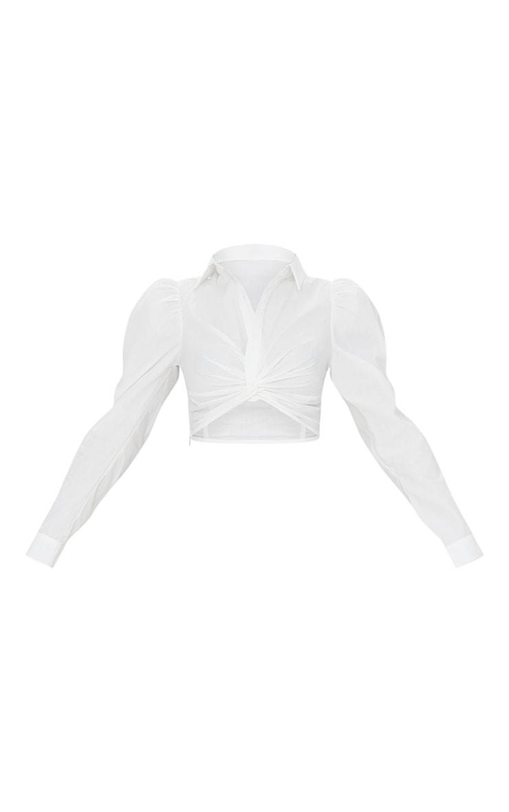 White Woven Twist Front Puff Shoulder Long Sleeve Crop Shirt 5