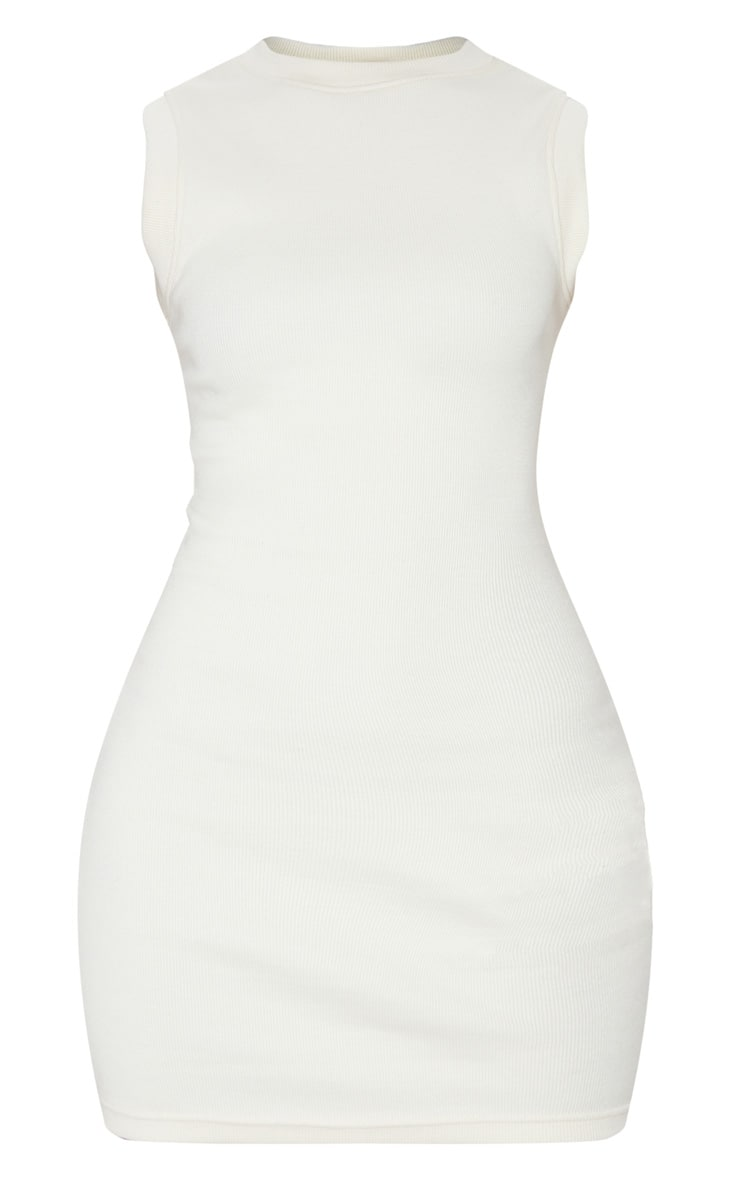 Cream Round Neck Ribbed Mini Dress 5