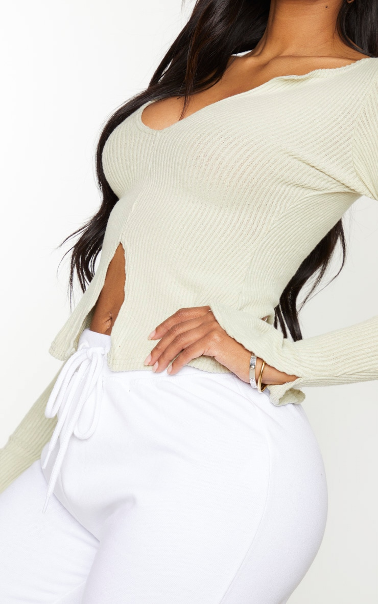 Shape Sage Khaki Brushed Rib Long Sleeve Top 5