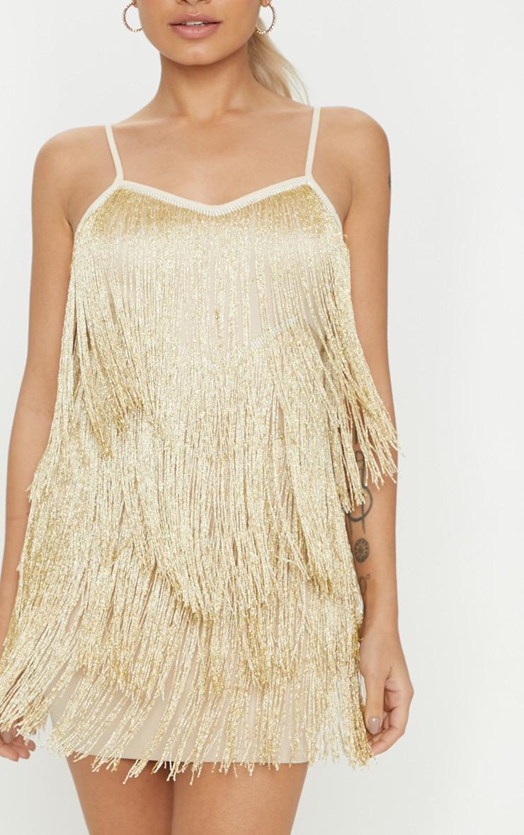 Petite Gold Tassel Strappy Mini Dress 5