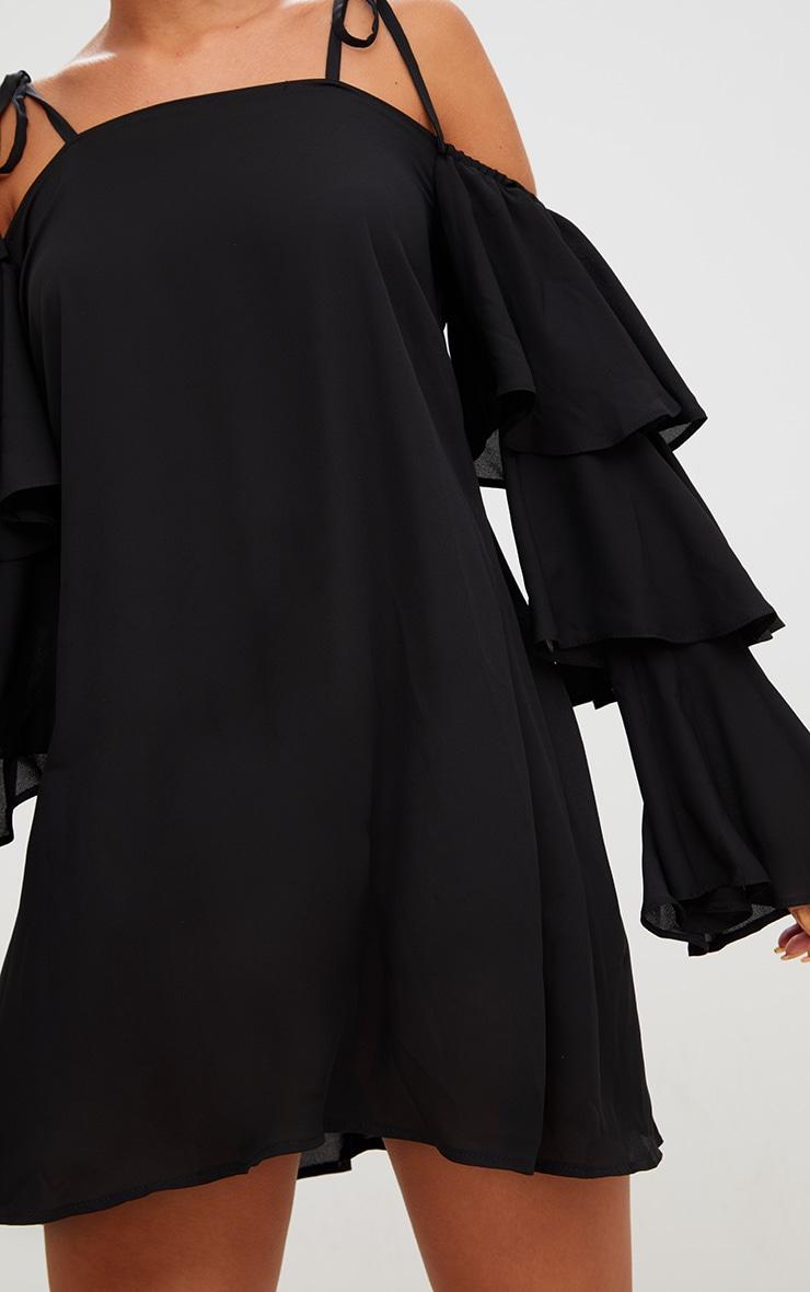Black Triple Sleeve Shift Dress  5