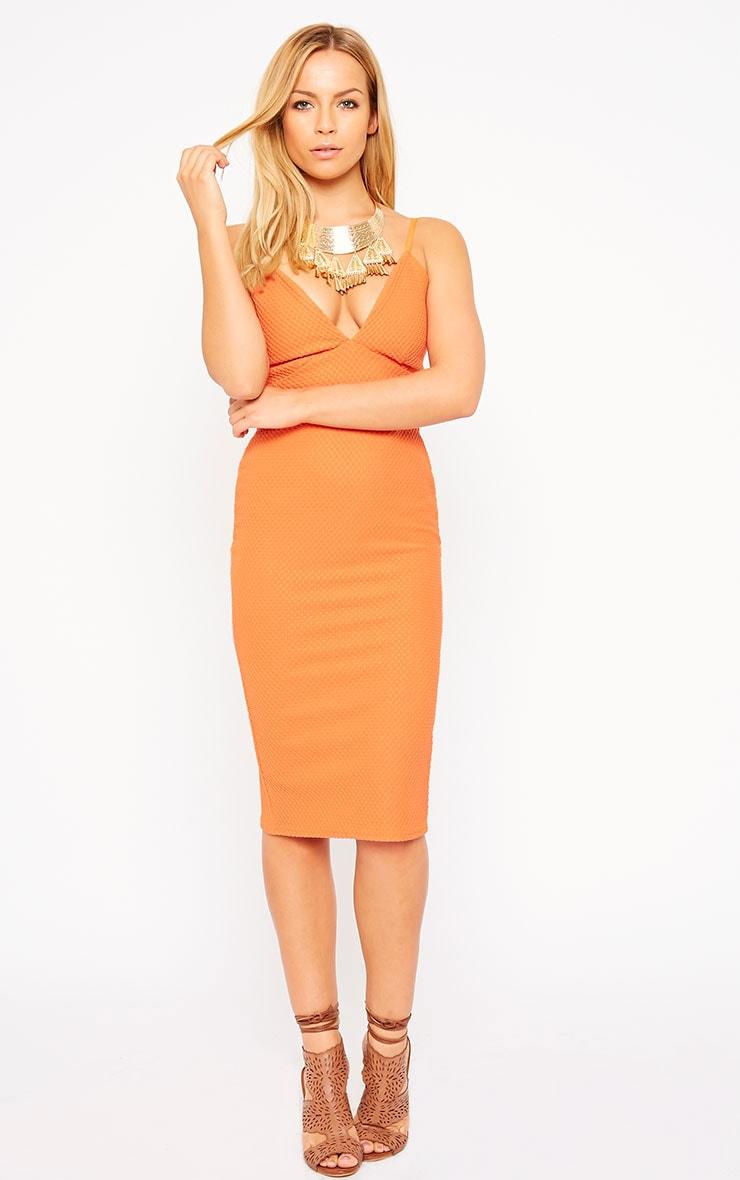 Celline Orange Plunge Neck Textured Midi Dress 1