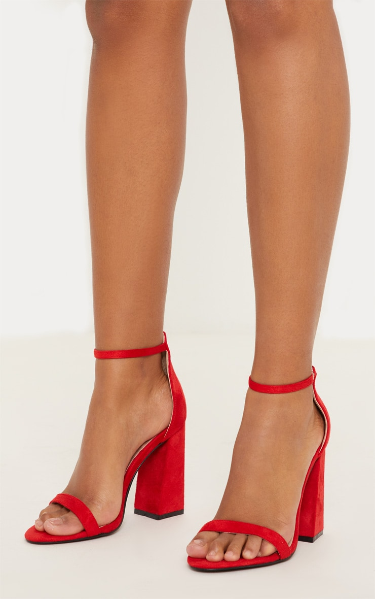 Red High Block Heel Strappy Sandal 2