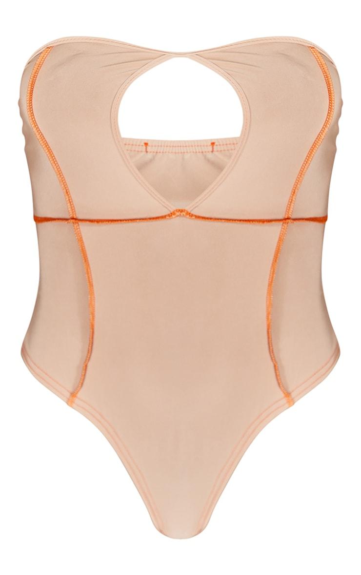 Beige Slinky Contrast Binding Bandeau Bodysuit 5