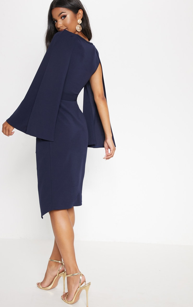 Navy Cape Style Wrap Midi Dress 2