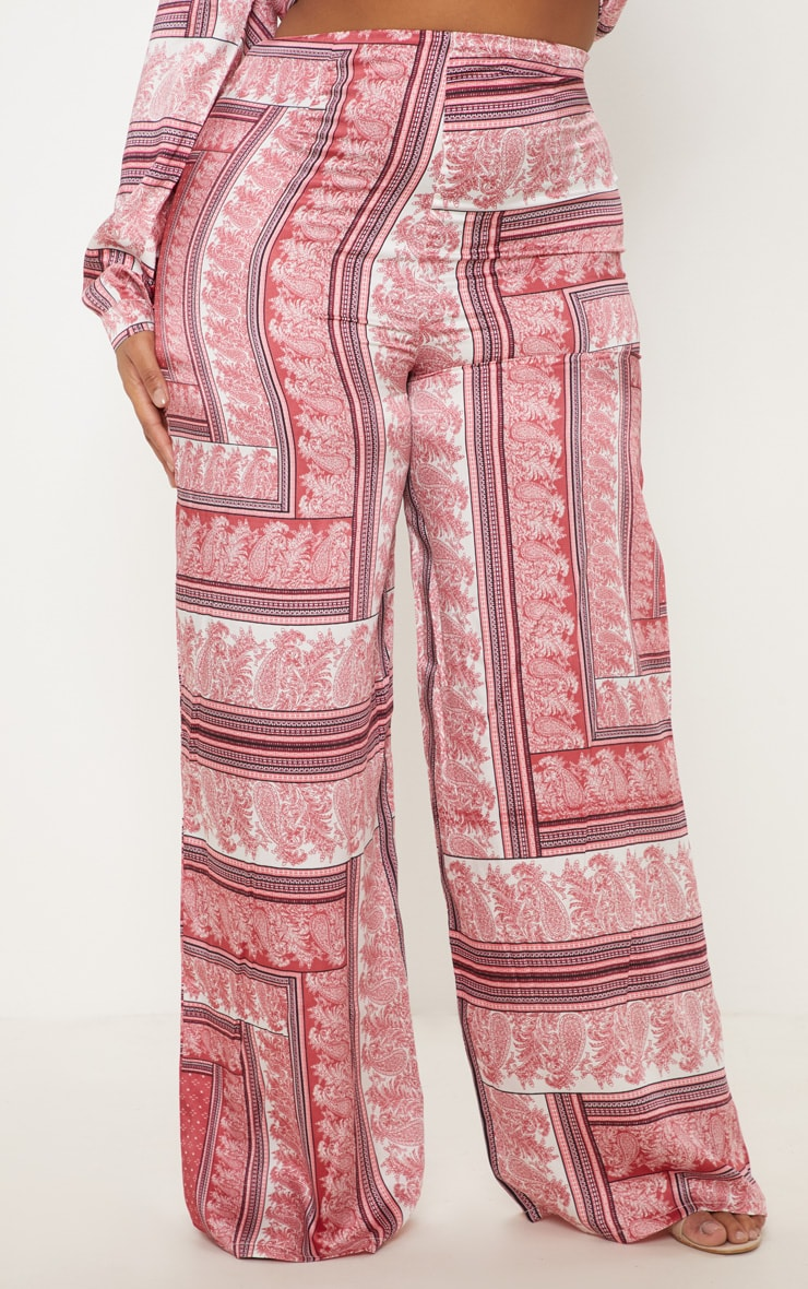 Plus Pink Scarf Print Wide Leg Trouser 2