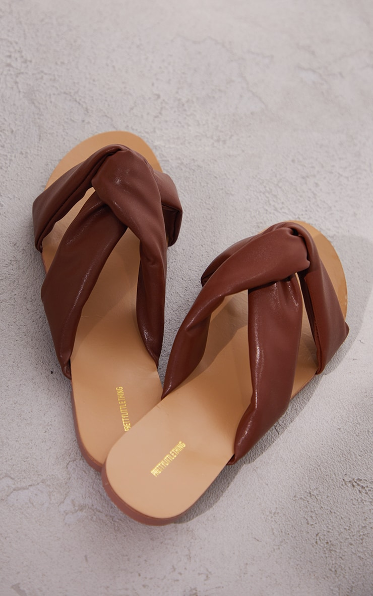 Chocolate Wide Fit Extreme Quilted Knot Detail Mule Sandals 4