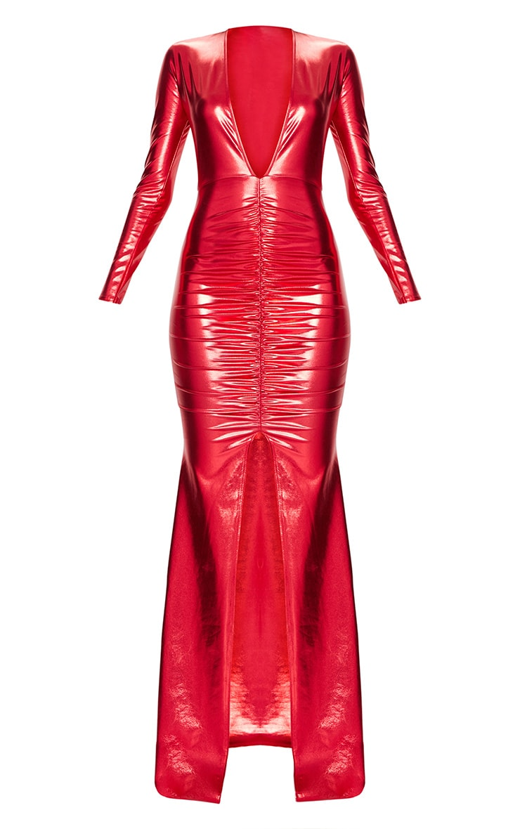 Red Metallic Ruched Maxi Dress 3