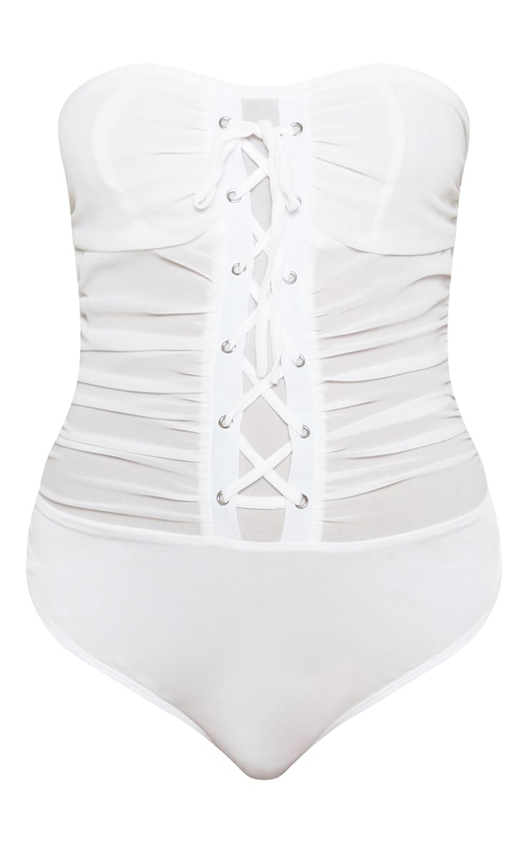 White Chiffon Lace Up Bandeau Bodysuit 3