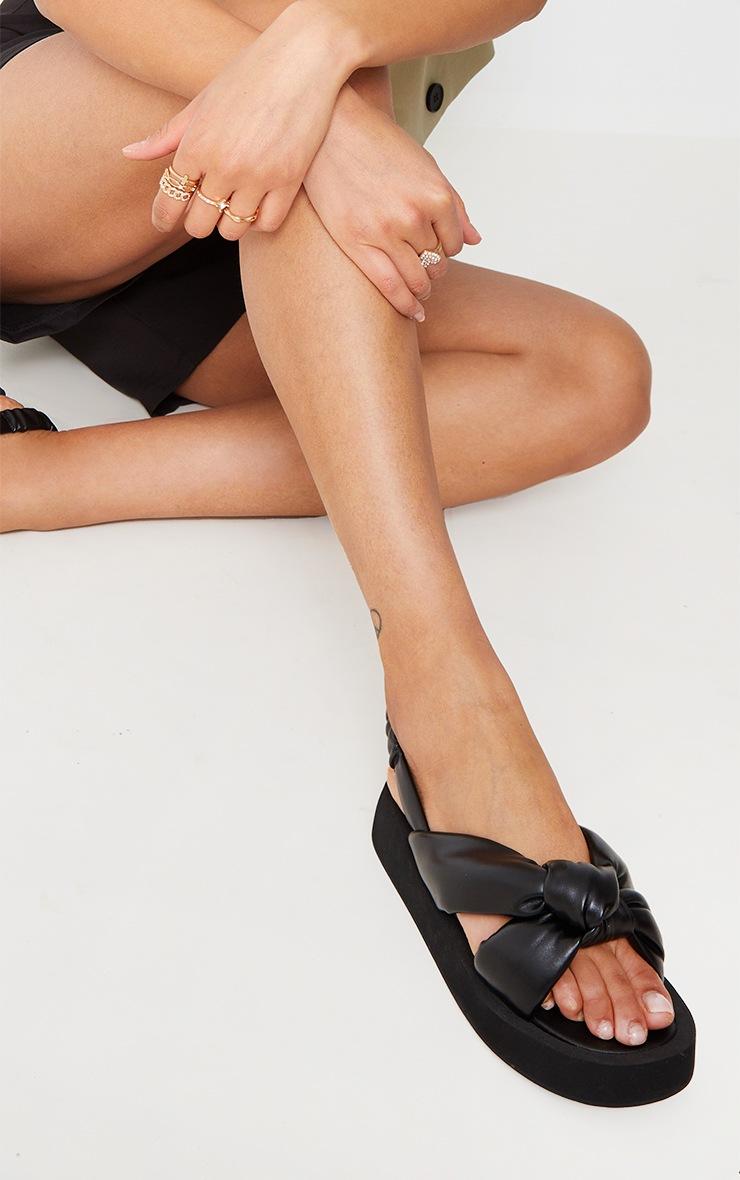 Black Padded Knot Slingback Square Toe Flatform Sandals 2