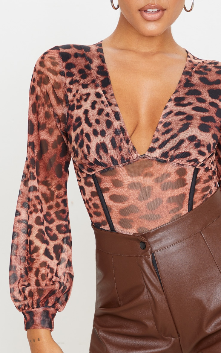 Tan Mesh Leopard Print Caged Detail Bodysuit 4