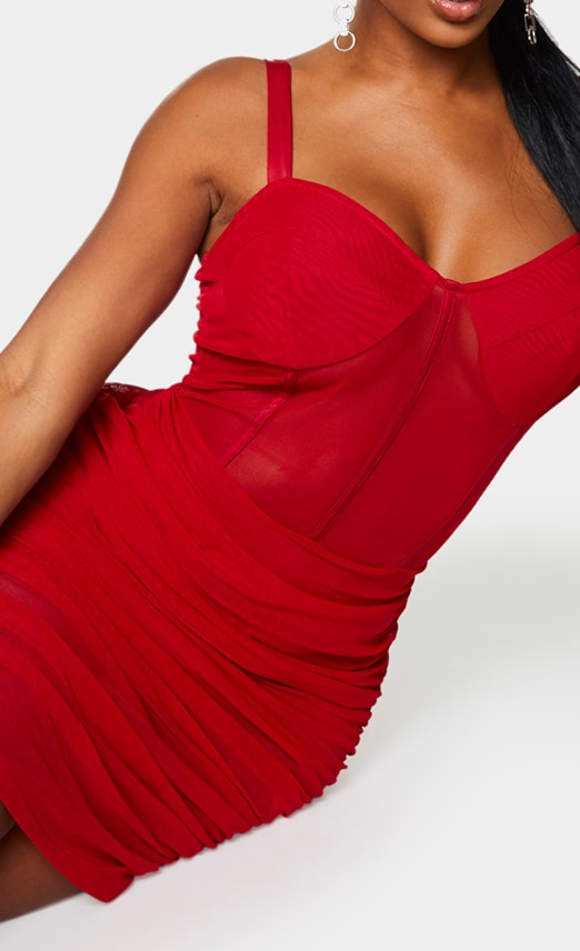 Shape Red Mesh Cup Detail Binding Bodycon Dress 4