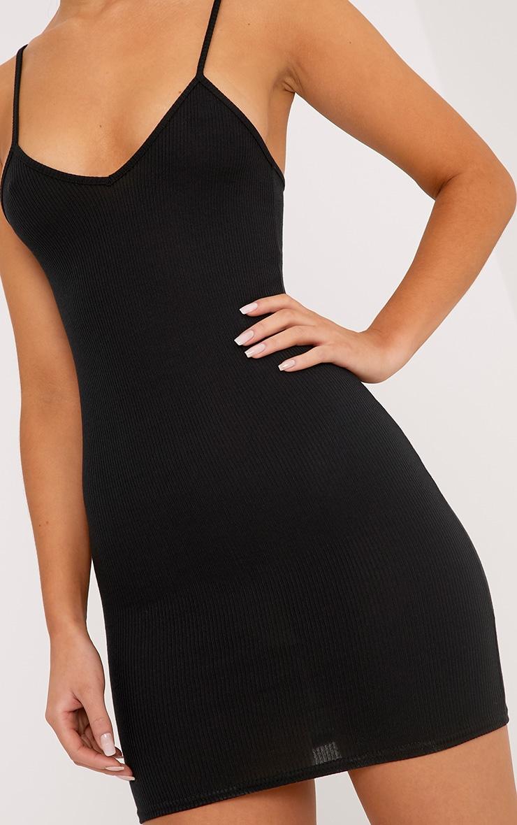 Mindie robe moulante noire côtelée à col en V et bretelles 5