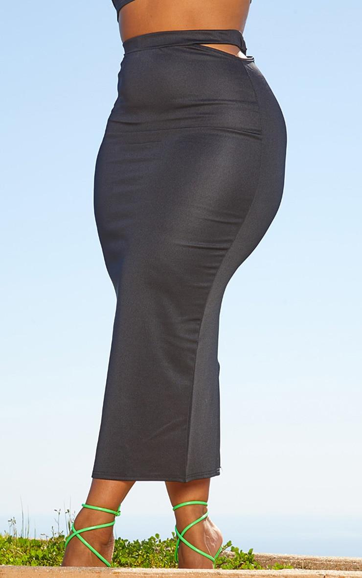Plus Black Second Skin Cut Out Midi Skirt 2