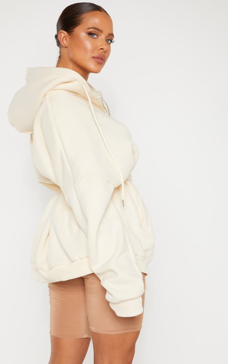 Cream Oversized Belted Sweat Hoodie 1