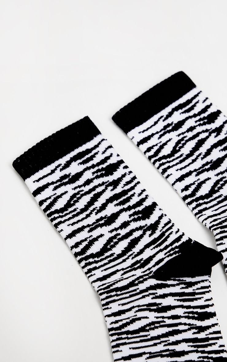 Black Zebra Ankle Socks 4