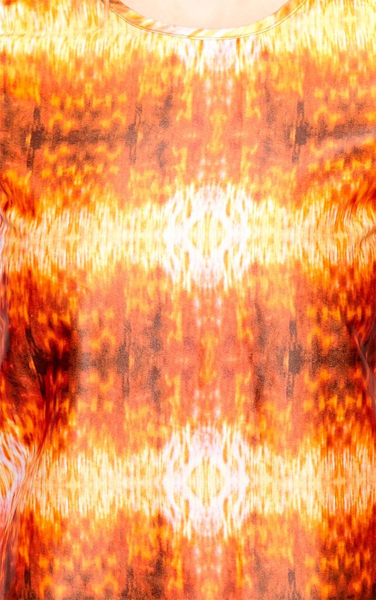 Kyra Orange Burn Out Satin Top  5