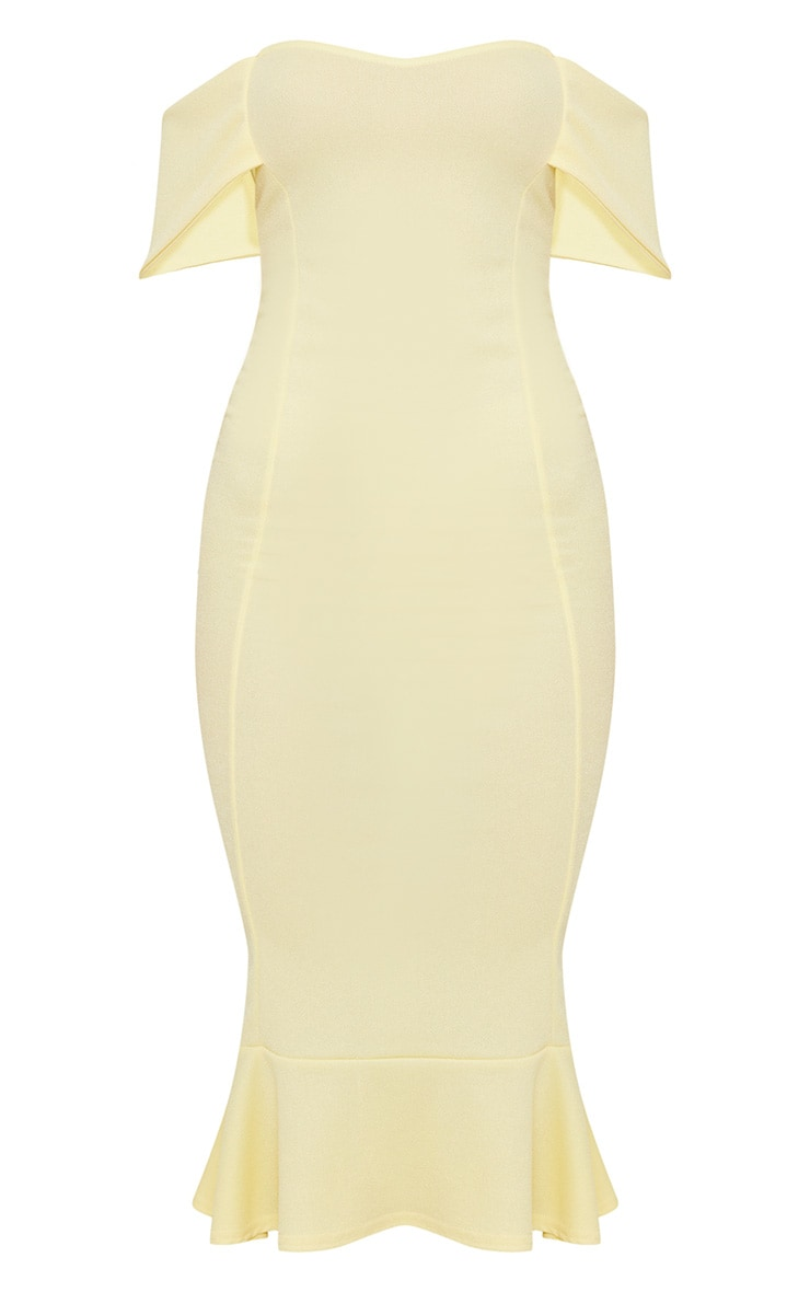 Lemon Bardot Frill Hem Midi Dress 3