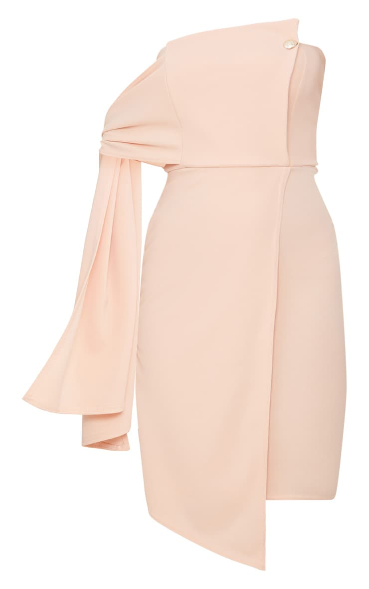Nude Tie Detail Wrap Front Bandeau Midi Dress 3