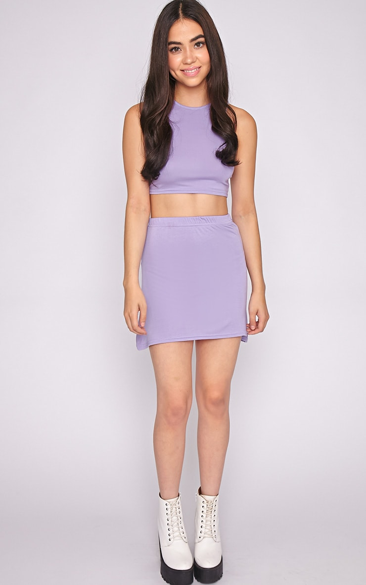 Erika Lilac A Line Mini Skirt  1