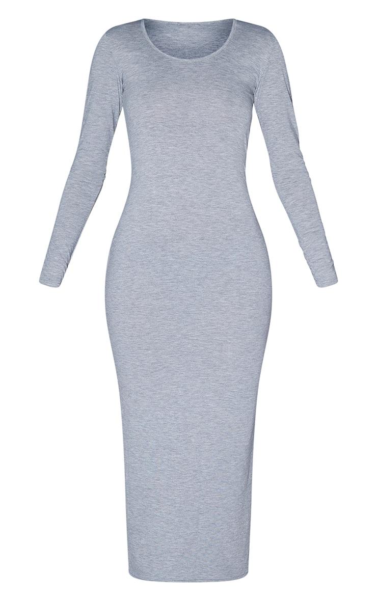 Tall Grey Marl Long Sleeve Jersey Maxi Dress 6