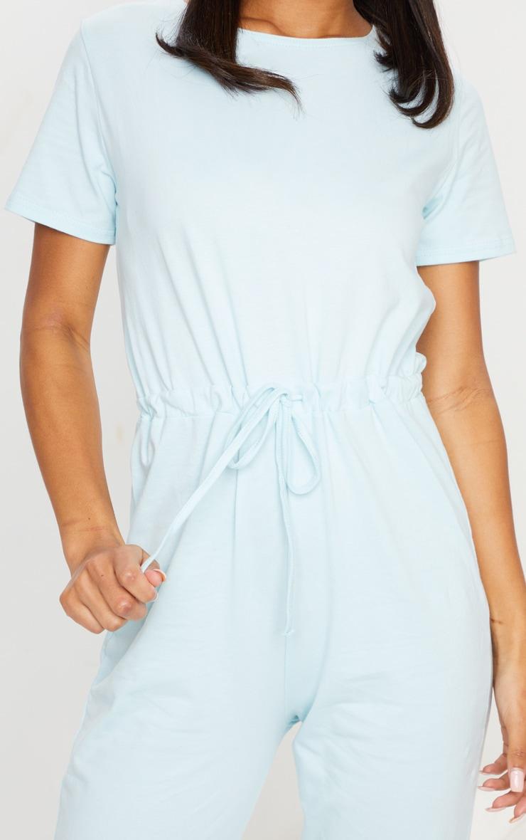 Pastel Blue Cotton Elastane Short Sleeve Jumpsuit 4