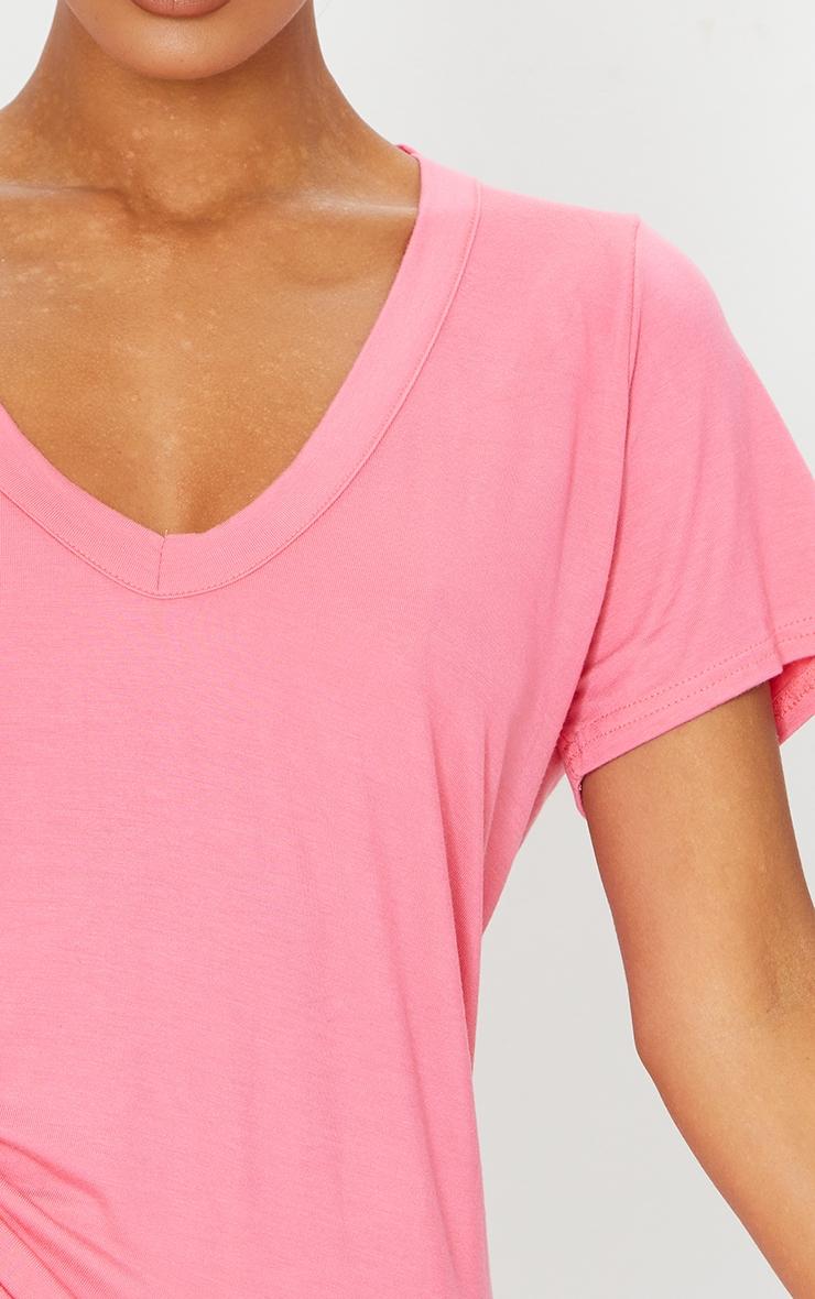 Basic Coral  Jersey V Plunge T Shirt 4