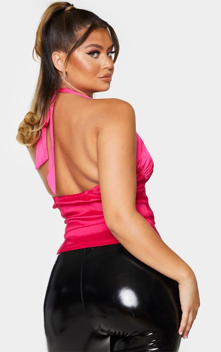 Hot Pink Satin Strap Halterneck Structured Long Top 2