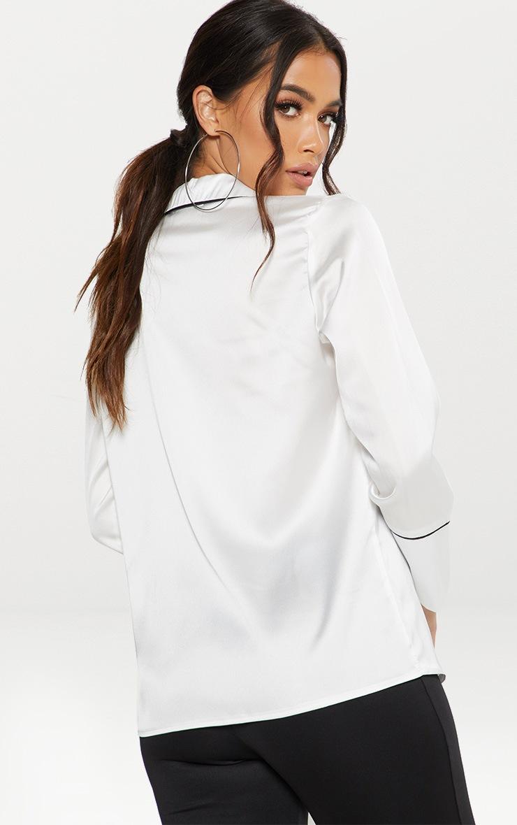 White Satin Contrast Seam Oversized Shirt  2