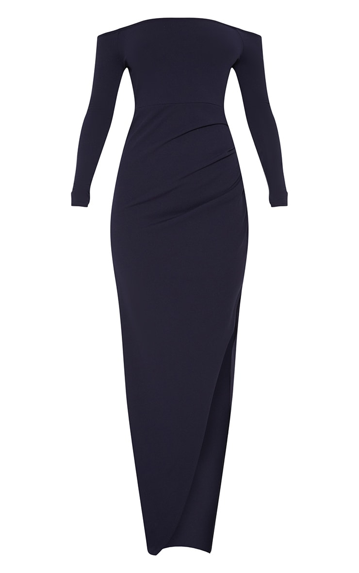 Navy Wrap Over Long Sleeve Bardot Maxi Dress 3