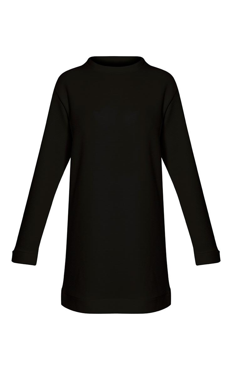 Melonie Black Ribbed Longline Sweater 3