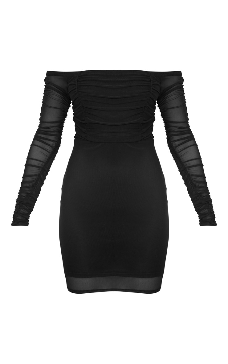 Black Ruched Mesh Bardot Bodycon Dress 3