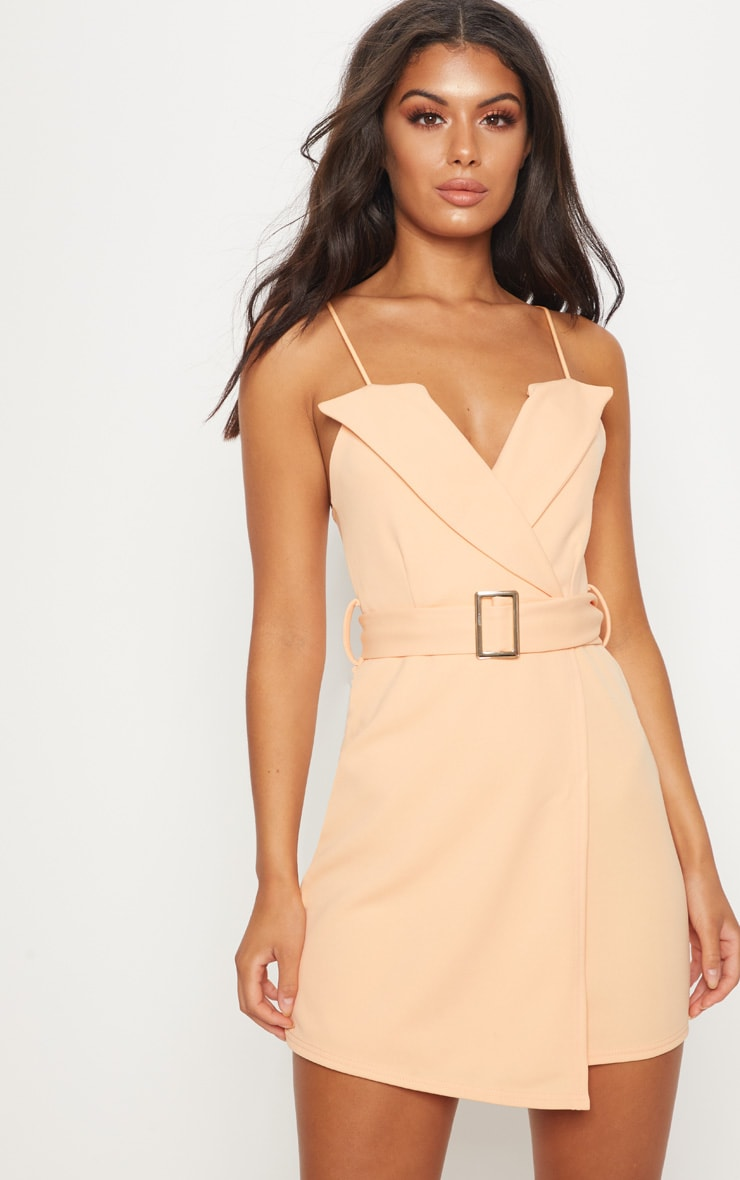 Tangerine Tux Detail Belted Wrap Bodycon Dress 1