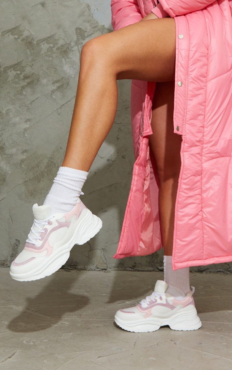 Pink PU Contrast Chunky Ridged Sole Sneakers 1
