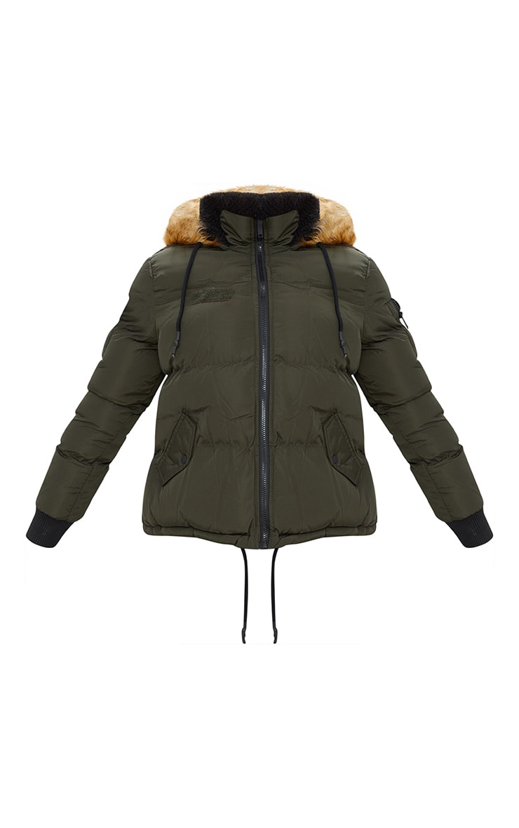 Khaki Puffer Jacket with Faux Fur Hood 3