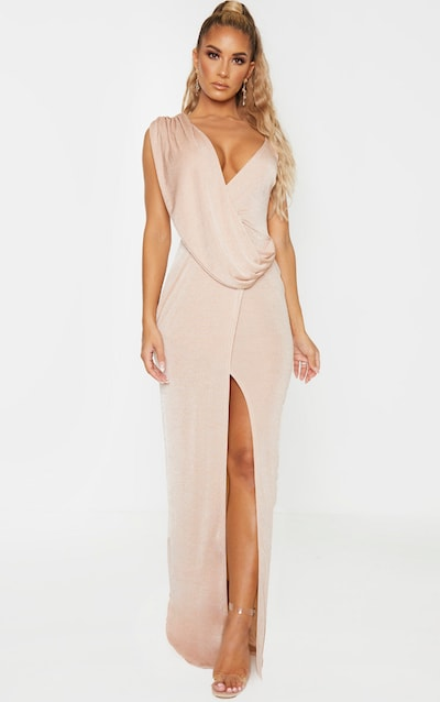Nude Textured Slinky Asymmetric Drape Maxi Dress