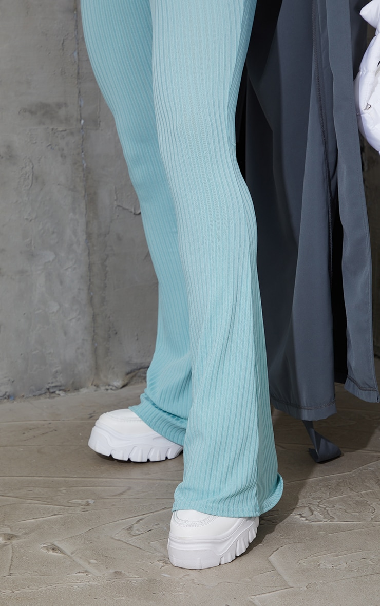 Washed Green Ribbed Flared Trousers 4