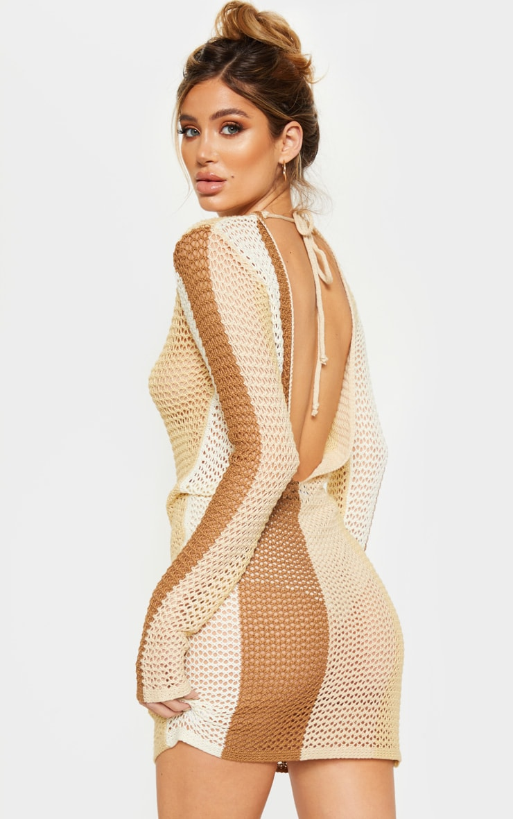 Cream Stripe Detail Open Back Knitted Dress  2