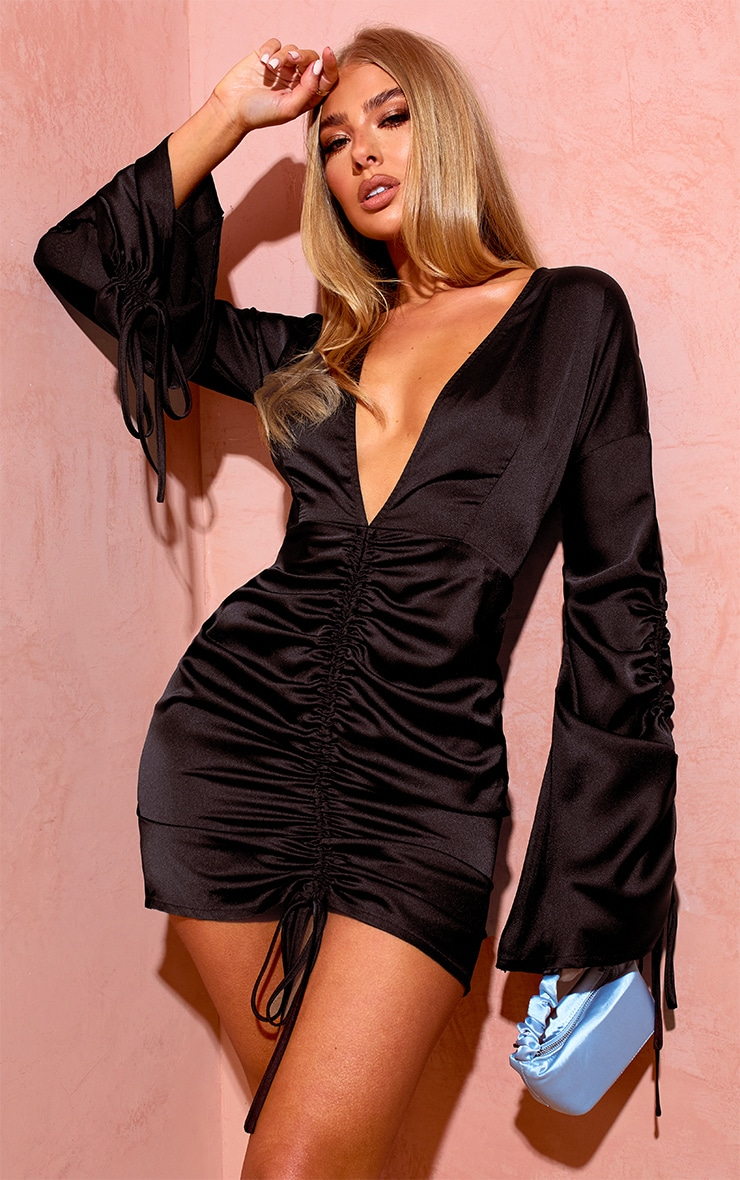 Black Satin Plunge Ruched Front Dress 1