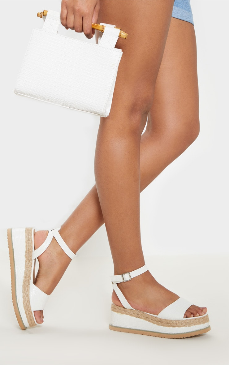 White Croc Faux Leather Flatform Sandal 2