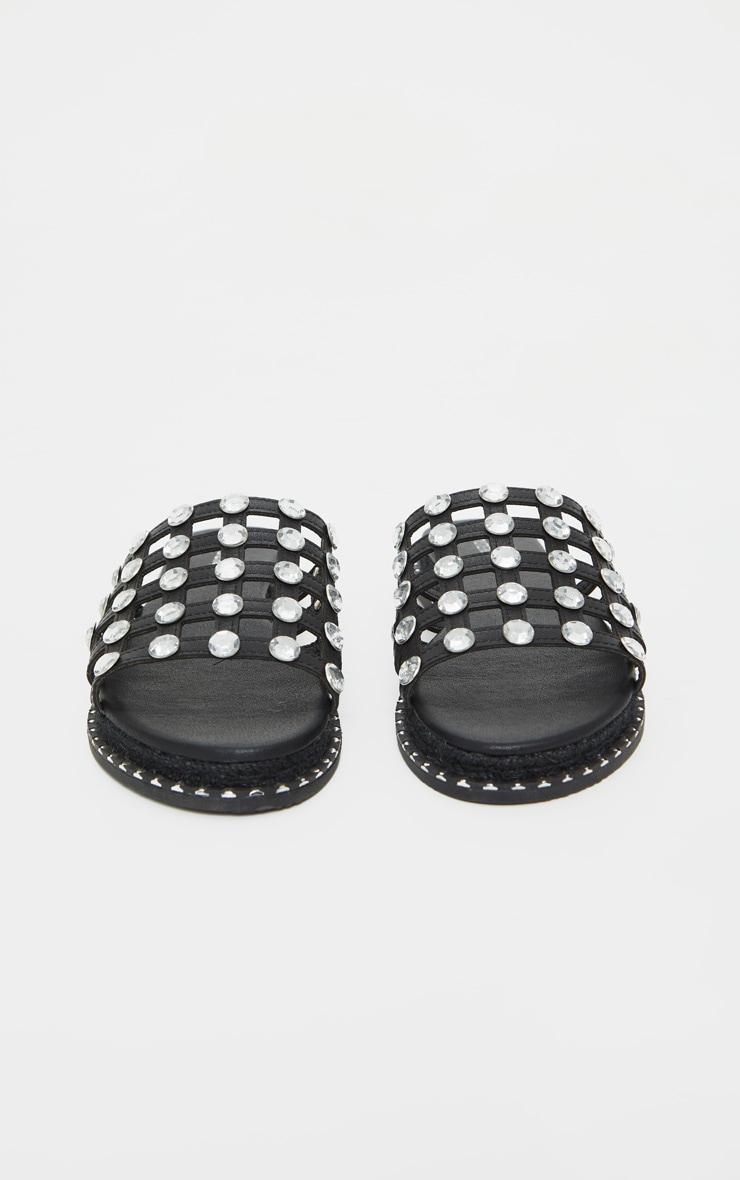 Black Diamante Studded Sliders 4