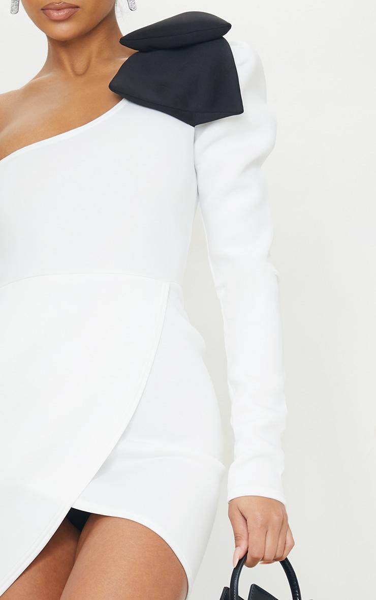White Bow Detail One Shoulder Scuba Bodycon Dress 4