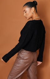 Black Cable Cropped Cardigan 2