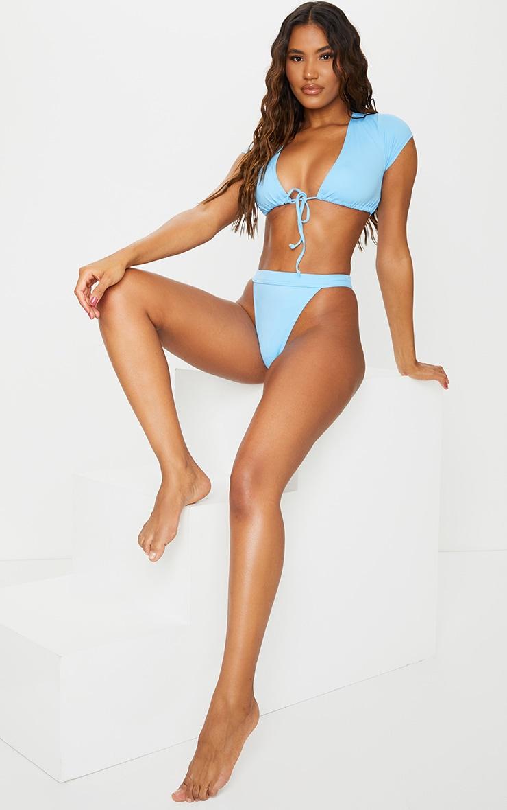 Recycled Blue Mix & Match High Leg Elasticated Bikini Bottom 1